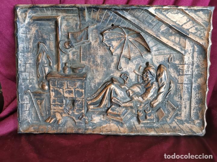 """Arte: Preciosa placa - relieve metálica. 5 kilos. Obra """"el poeta pobre"""" del alemán Carl Spitzweg - Foto 2 - 278578138"""