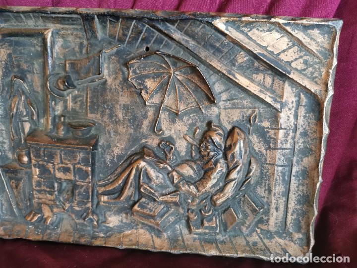 """Arte: Preciosa placa - relieve metálica. 5 kilos. Obra """"el poeta pobre"""" del alemán Carl Spitzweg - Foto 7 - 278578138"""