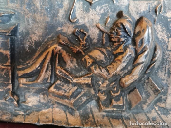 """Arte: Preciosa placa - relieve metálica. 5 kilos. Obra """"el poeta pobre"""" del alemán Carl Spitzweg - Foto 8 - 278578138"""
