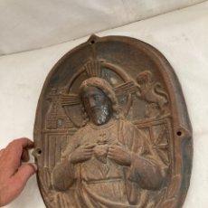 Art: ANTIGUO Y PESADO CUADRO JESUS,HIERRO,DE FACHADA!. Lote 284042603
