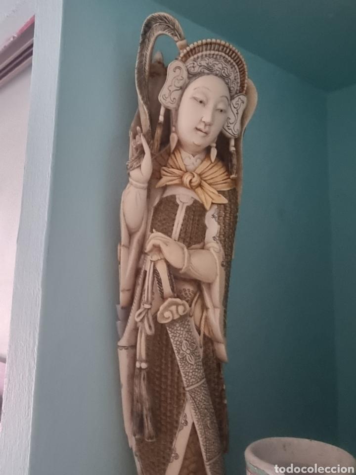 GEISHA MARFIL CHINO CHINA (Arte - Escultura - Marfil)