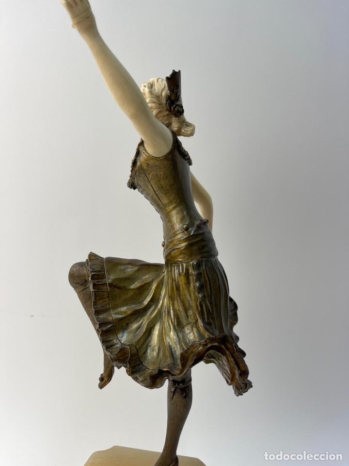 Arte: ESCULTURA CRISOELEFANTINA EN BRONCE, MARFIL Y BASE DE ONIX. FIRMADA FOGERE. S.XIX. - Foto 12 - 287446688