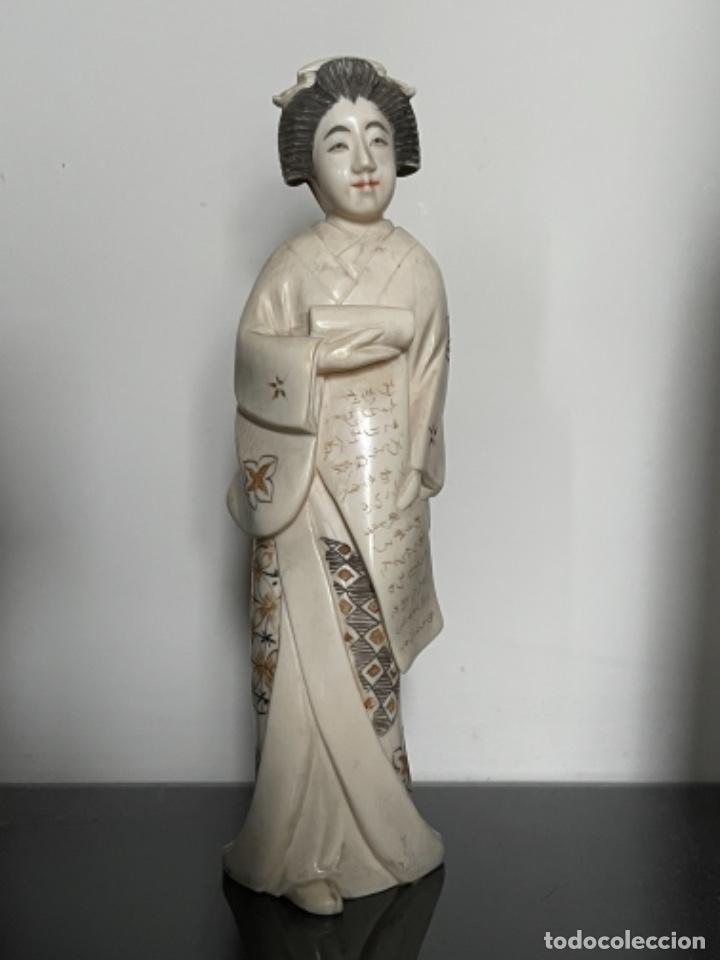 GEISHA JAPONESA MARFIL SIGLO XIX/XX (Arte - Escultura - Marfil)