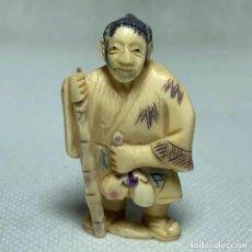 Arte: NETSUKE - BOTÓN JAPONES KIMONO - MARFIL - FIRMADO - 4.8 CM. Lote 287575428