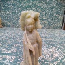 Arte: DAMA CHINA CON SOMBRILLA TALLADA EN PIEDRA. Lote 287584183