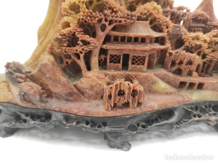 Arte: Escultura china en piedra dura tallada, paisaje, del siglo XIX. - Foto 2 - 287712343