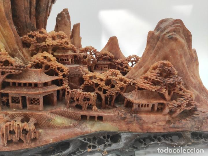 Arte: Escultura china en piedra dura tallada, paisaje, del siglo XIX. - Foto 4 - 287712343