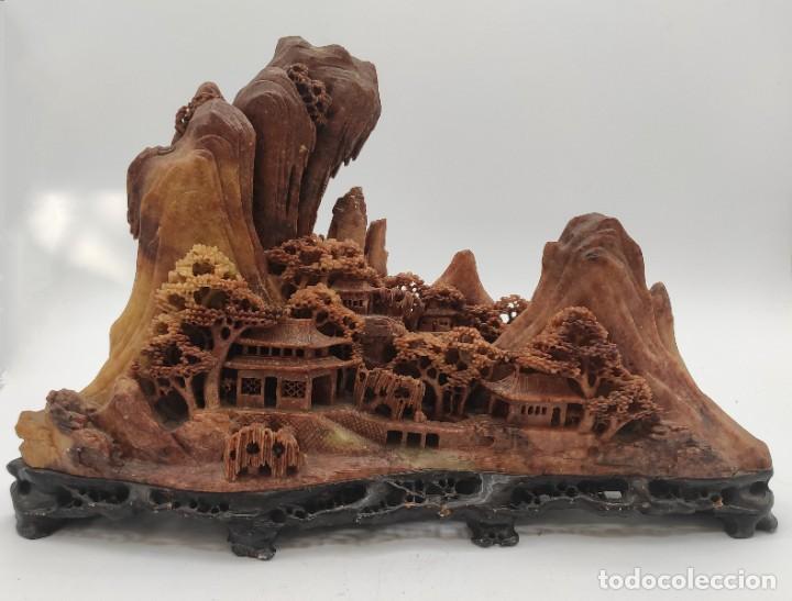 Arte: Escultura china en piedra dura tallada, paisaje, del siglo XIX. - Foto 6 - 287712343