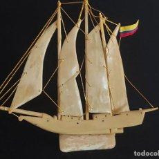 Arte: PEQUEÑO BARCO VELERO DE 26X22 CM HECHO TOTALMENTE DE HUESO / MUY CURIOSO.. Lote 288020048