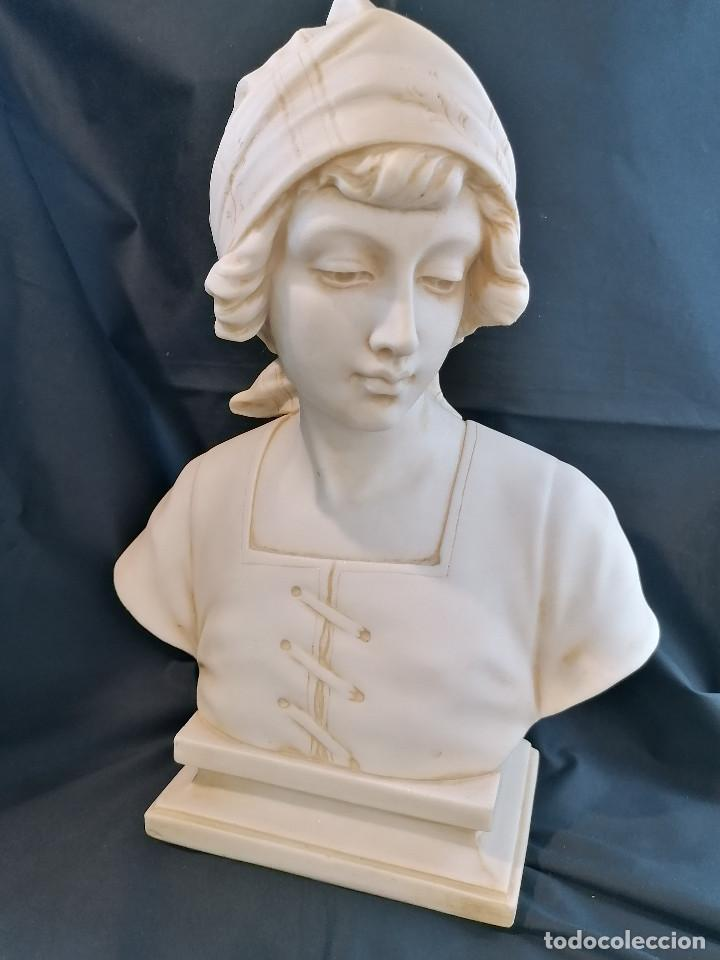 Arte: Escultura Campesina en piedra blanca firmada H Dovoise ENVÍO GRATIS - Foto 4 - 288042958