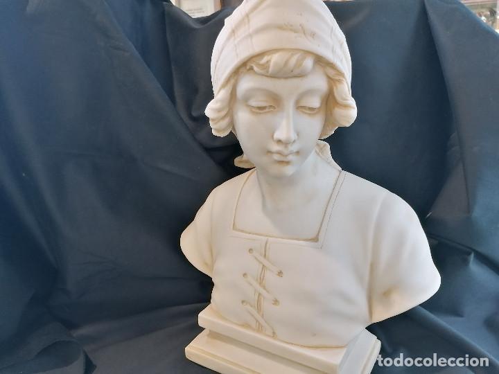 ESCULTURA CAMPESINA EN PIEDRA BLANCA FIRMADA H DOVOISE ENVÍO GRATIS (Arte - Escultura - Piedra)