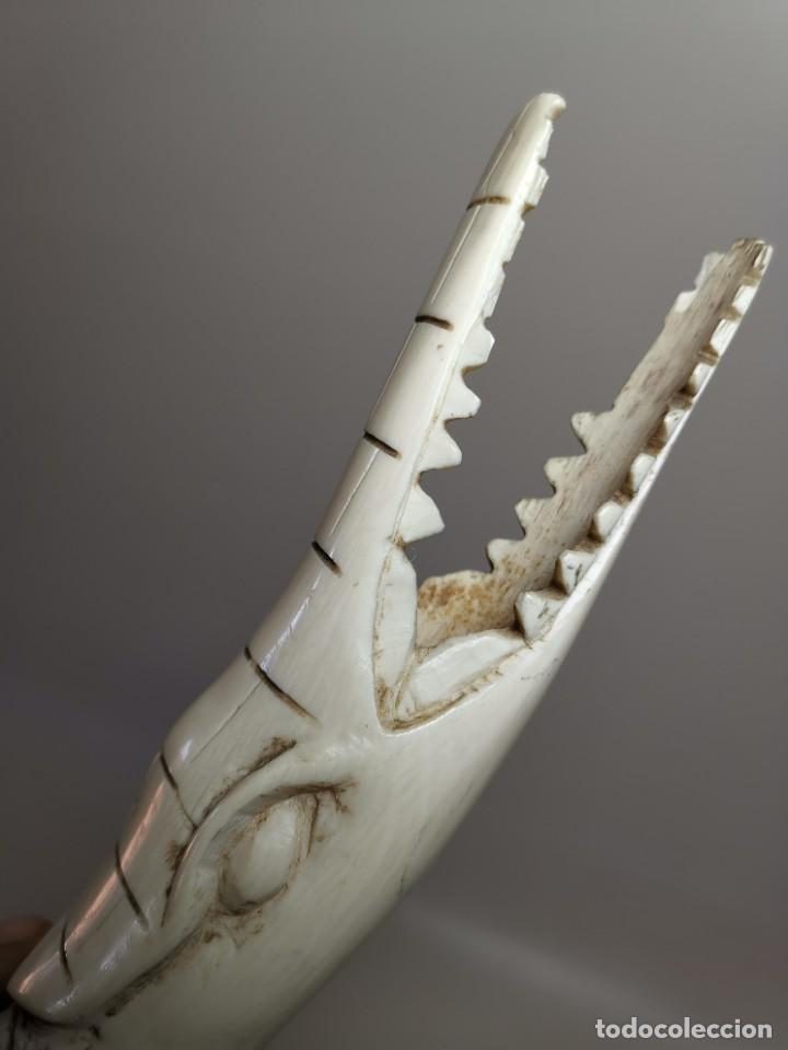 Arte: COCODRILO TALLA EN COLMILLO DE MARFIL-AFRICA AÑOS 50--440GR - Foto 25 - 288458613