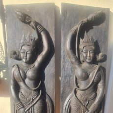 Arte: PAIR OF WOODEN PANELS OF BUDDA BUYER COLLECT. ( COSTA DEL SOL FREE DELIVERY). Lote 288602038