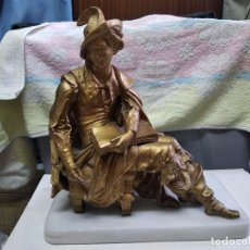 Arte: ESCULTURA ESCRITOR EN BRONCE CON BASE DE MARMOL. Lote 288983478