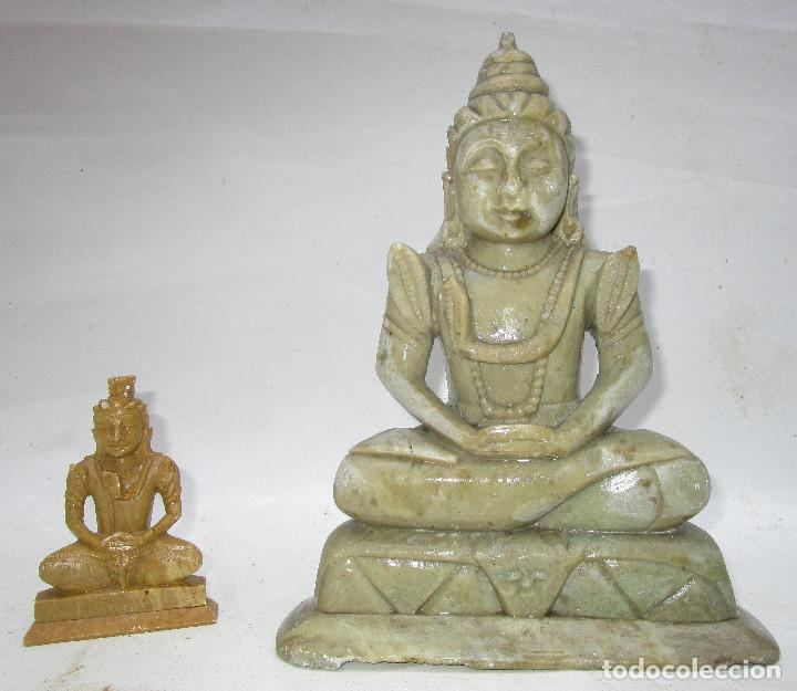Arte: Pareja de Budas en marmol tallado ideal decoracion chill out etnica - Foto 2 - 289011578