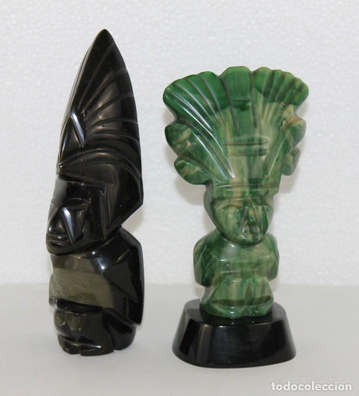 PAREJA DE DIOSES DE MÉXICO AZTECAS TALLADOS A MANO (Arte - Escultura - Piedra)