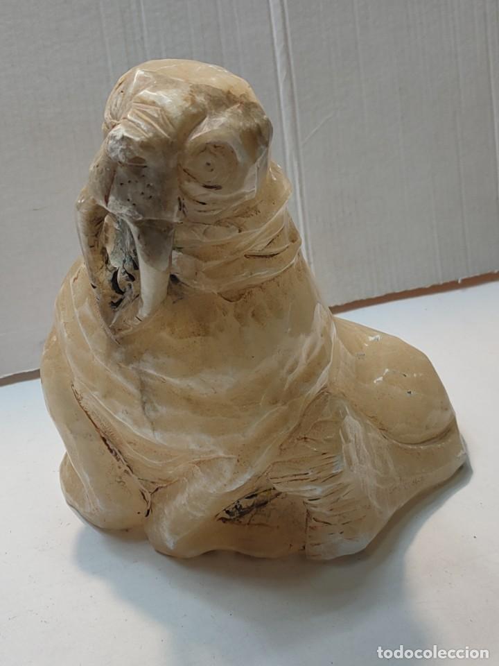 ANTIGUA TALLA EN ALABASTRO- MÁRMOL BLANCO -MORSA- (Arte - Escultura - Alabastro)