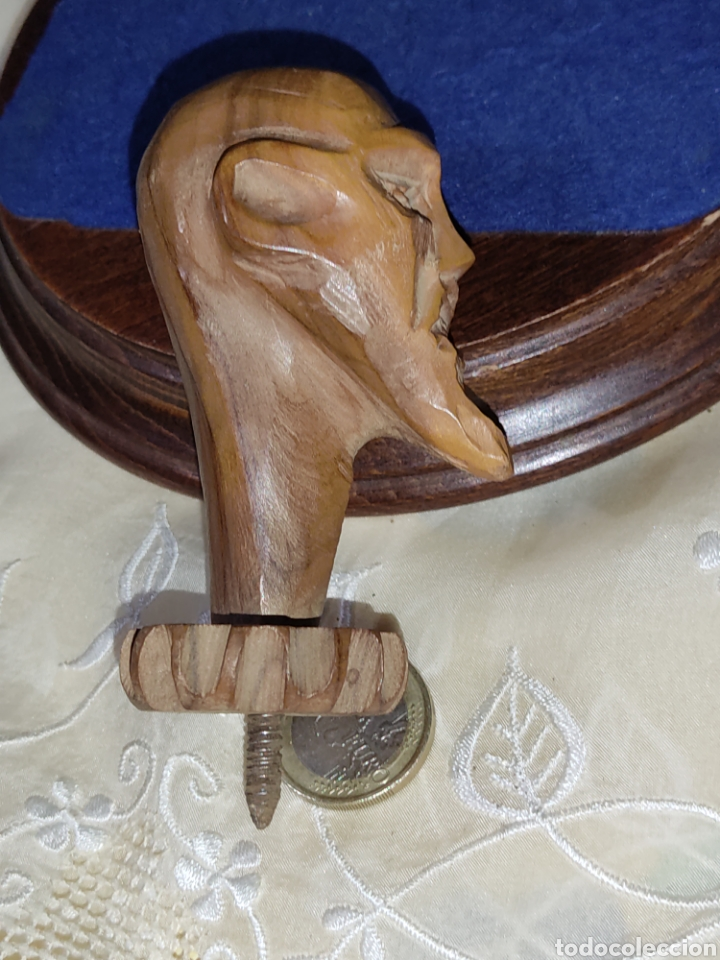 Arte: Antiguo mango de Don Quijote tallado en madera para bastón o varios - Foto 7 - 289770578