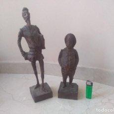 Arte: ANTIGUAS TALLAS DE MADERA DE DON QUIJOTE Y SANCHO PANZA. Lote 294448078