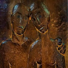 Arte: HOMBRE Y MUJER. RELIEVE EN MADERA TALLADA. ANÓNIMO. ESPAÑA. SIGLO XX. Lote 295468793