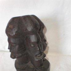 Arte Étnico: FIGURA EN MADERA DE EBANO CON 4 CABEZAS. Lote 18497672
