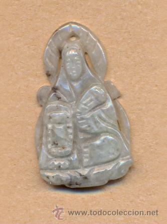 POST 491 - COLGANTE ESCULTURA EN JADE O PIEDRA CON VIRGEN Y AUREOLA 4 X 2.5 CMS (Arte - Arte Étnico)