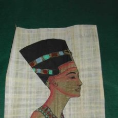 Arte: EGIPTO: CABEZA DE NEFERTITI. GRABADO COLOREADO A MANO SOBRE PAPIRO. Lote 3113301