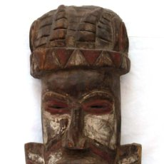 Arte: MÁSCARA AFRICANA MADERA TALLADA Y POLICROMADA ANTIGUA. Lote 8536484