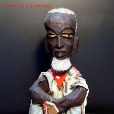 Arte: ANTIGUA E INTERESANTE ESCULTURA AFRICANA REPRESENTANO UN ANCIANO SENTADO. Lote 27483195