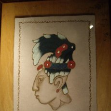 Arte: EXCEPCIONAL PINTURA EN PIEL PROCEDENTE DE CHIAPAS. Lote 27324110