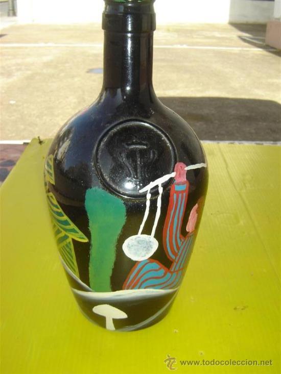 BOTELLA CRISTAL PINTURA AFRICANA (Arte - Étnico - África)