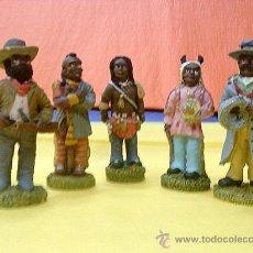 Arte: TRIBU AMERICANA DE 5 FIGURITAS MINIATURA DE 12 CM. Lote 21464361