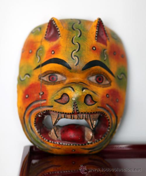 MASCARA MADERA POLICROMADA MEJICANA ÉTNICA. SUERTE PROTECCIÓN . ORIGINAL ANTIGUA (Arte - Étnico - América)
