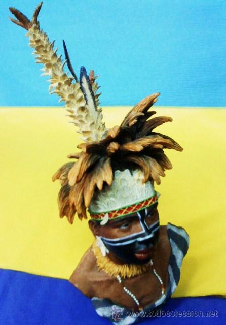 Arte: aborigen.- tribes of the world / tribus del mundo.- alta calidad.- cabeza pintado a mano.- ver foto - Foto 2 - 21950253