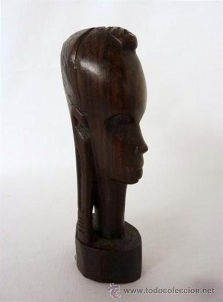 Arte: busto africano en madera exotica - Foto 2 - 26259947