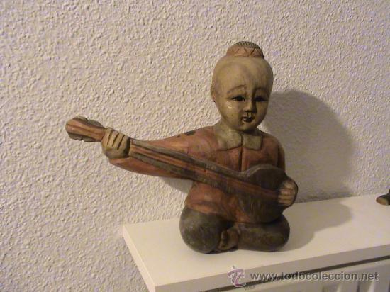 Arte: Figura de Madera Chino tocando el laúd. - Foto 4 - 29126986