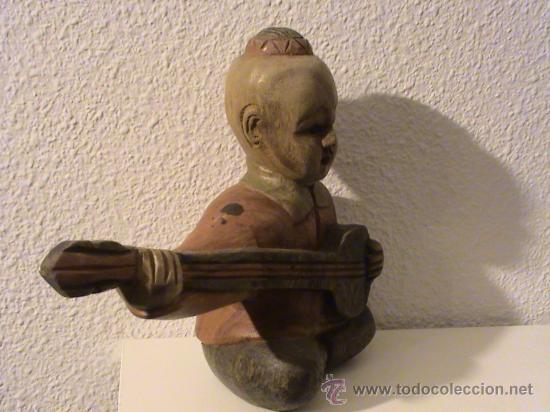 Arte: Figura de Madera Chino tocando el laúd. - Foto 3 - 29126986