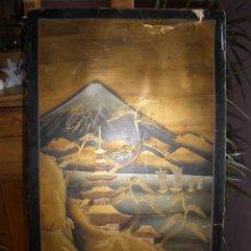 Arte: PINTURA JAPONESA SOBRE TABLA DE MADERA, PAISAJE. DETERIORADO EN SU PARTE SUPERIOR. . Lote 30370521