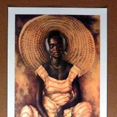 Arte: PÓSTER PLASTIFICADO MUJER AFRICANA CON SOMBRERO (43 X 63 CM.). Lote 30804403
