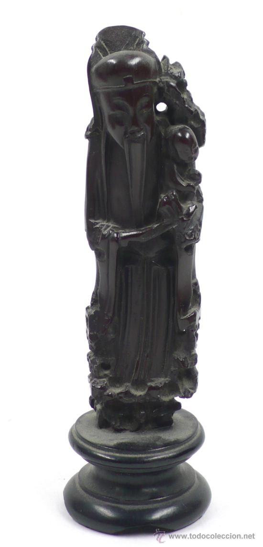 FIGURA ORIENTAL DE MADERA, ALTURA TOTAL CON PEANA: 20 CM. (Arte - Étnico - Asia)