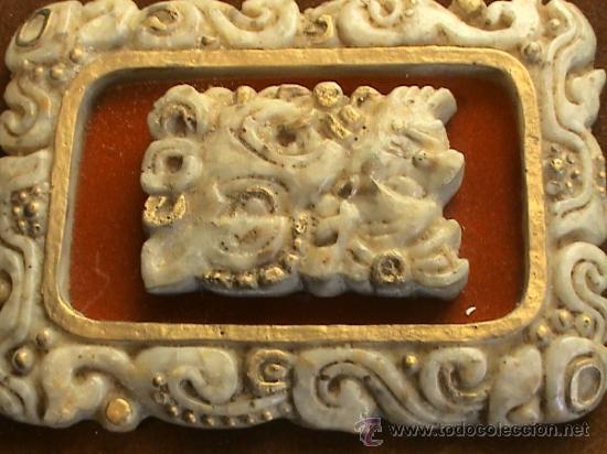 Arte: Cuadro de origen mejicano en alabastro con jeroglíficos mayas. - Foto 2 - 31889875