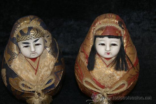 Arte: Pareja de muñecas orientales, con cabeza de celuloide, y trapo. - Foto 2 - 32462300
