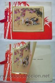 ANTIGUA TARJETA : PATOS EN EL ESTANQUE - PINTURA ORIGINAL CHINA SOBRE SEDA (Arte - Étnico - Asia)