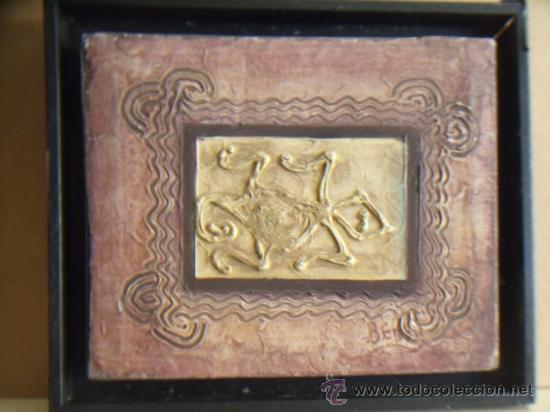 CUADRO DE LA CULTURA TAÍNA. REALIZADO EN ACRÍLICO Y PASTA. SIN ENMARCAR. (Arte - Étnico - América)
