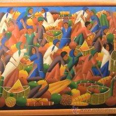 Arte: ACRÍLICO SOBRE TABLA FIRMADO POR J BOSSICOT. NAIF. MUJERES EN EL MERCADO.. Lote 33094020