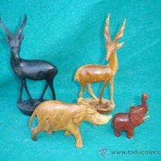 Arte: 4 TALLAS DE ANIMALES MADERA AFRICANOS. Lote 33663978