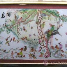 Arte: 115 CM - ANTIGUO TAPIZ SEDA BORDADO CHINO - AVES HAIKU - NATURALEZA Y VIDA CHINA. Lote 34585997