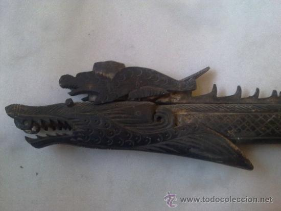 Arte: cerbatana de hueso tallado de oceania - Foto 2 - 36599029