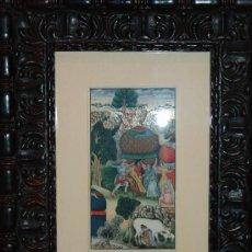 Arte: PRECIOSA PINTURA MINIATURA HINDÚ SOBRE HUESO ENMARCADA. Lote 35927455