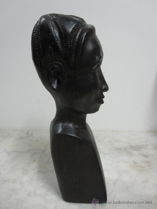 Arte: BUSTO AFRICANO TALLADO EN EBANO - Foto 2 - 37123901